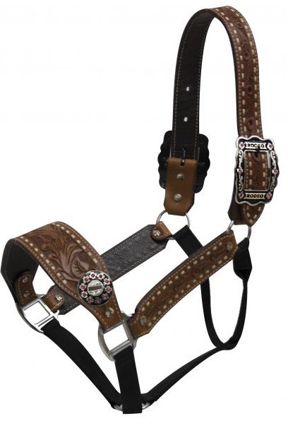 Belt Halter with Rodeo Conchos and Buckles.-Belt Halter with Rodeo Conchos and Buckles.