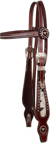 leather browband beaded headstall and reins with hair on cowhide cheeks.