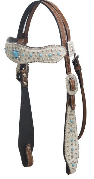 Hair on cowhide overlay headstall with turqoise stone conchos.