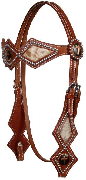 double stitched leather silver beaded diamond shaped browband headstall with gold cross conchos