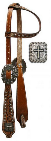 One Ear Headstall with Brown Filigree Print