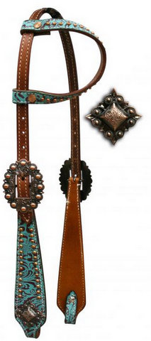 One Ear Headstall with Teal and Brown Filigree Print