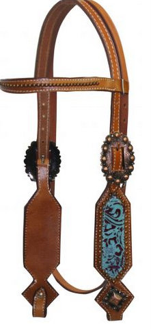 Double Stitched Leather Headstall with Filigree Print Overlay.