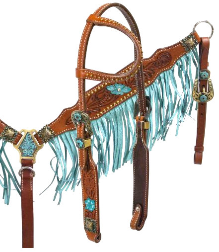 Argentina cow leather turquoise fringe headstall and breast collar set.