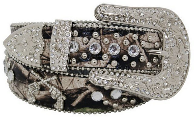 Showman Couture � Western style camo print bling belt with crossed guns conchos.