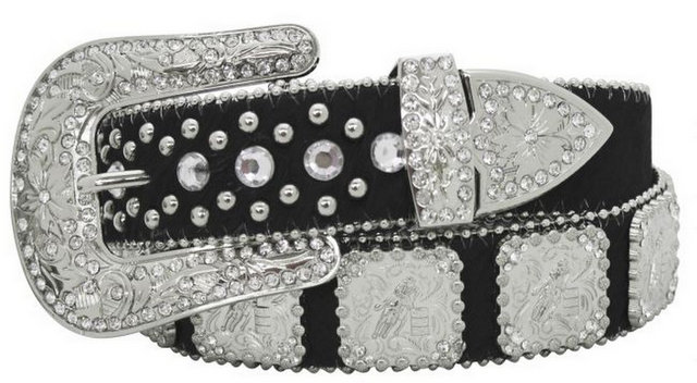 Showman Couture ™  Western style bling barrel racer concho belt with removable buckle.-Showman Couture ™  Western style bling barrel racer concho belt with removable buckle.