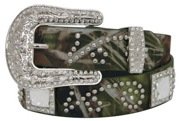 Showman Couture ™  Western style belt with camo print design with square crystal conchos.-Showman Couture ™  Western style belt with camo print design with square crystal conchos.