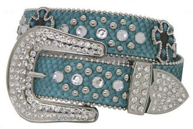 Showman Couture �  Western style bling teal snake print belt with removable buckle.