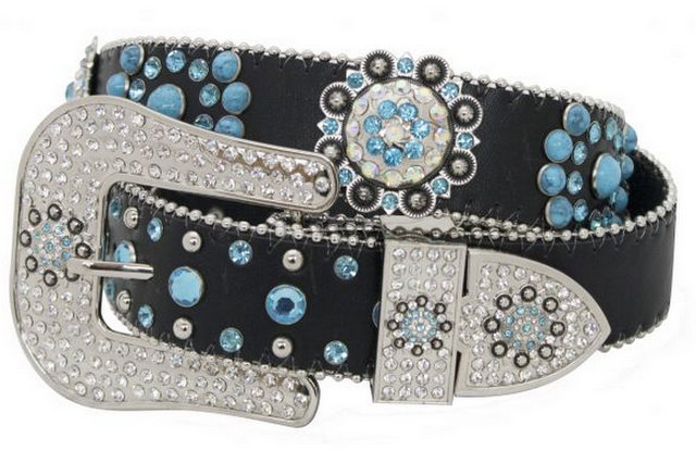 Showman Couture ™  Western style black leather belt with crystal rhinestone rosette conchos and removable buckle.-Showman Couture ™  Western style black leather belt with crystal rhinestone rosette conchos and removable buckle.
