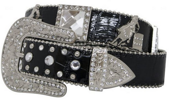 Showman Couture ™  Western style bling belt with barrel racer conchos and removable buckle.-Showman Couture ™  Western style bling belt with barrel racer conchos and removable buckle.