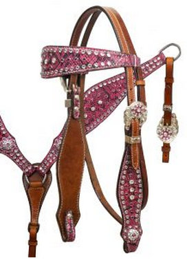 Pink snake print headstall and breast collar set with crystal rhinestones.