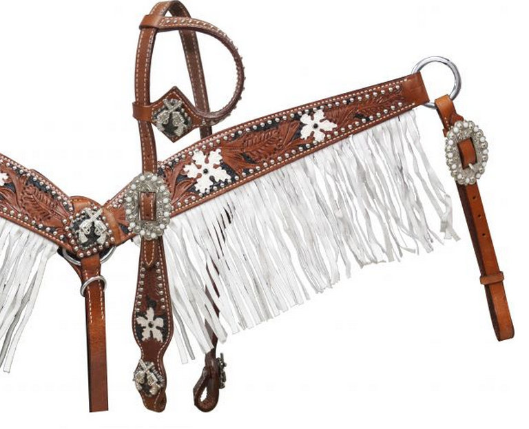 Medium tooled leather headstall and breast coller with black color inlay and white painted flowers.-Medium tooled leather headstall and breast coller with black color inlay and white painted flowers.