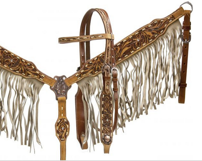 Double stitched leather headstall and breast collar set with tan suede fringe and floral tooling-Double stitched leather headstall and breast collar set with tan suede fringe and floral tooling