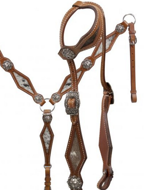 Hair on Cowhide Single Ear Headstall and Breast Collar Set