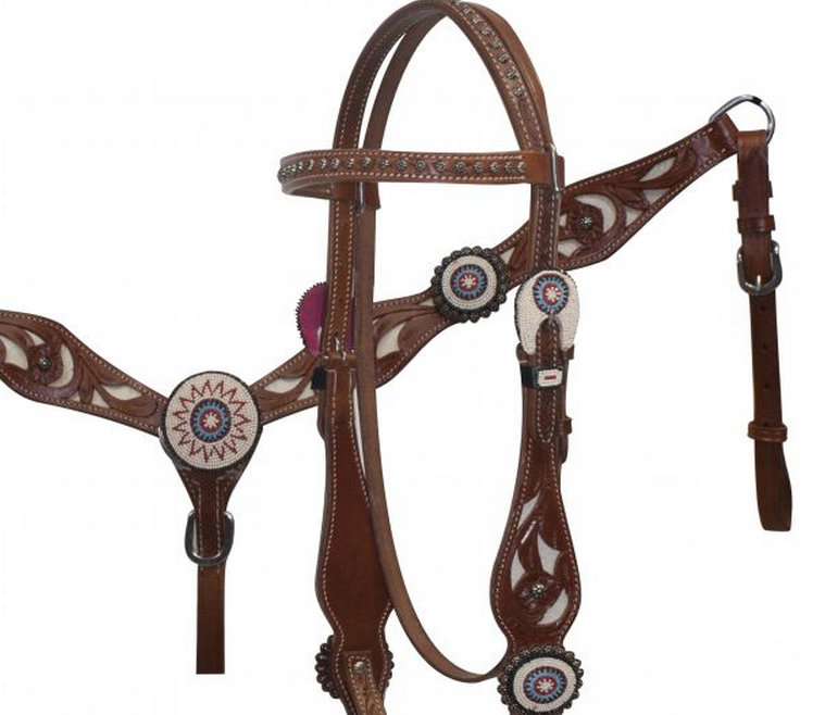Beaded Concho Headstall and Breast Collar with Cowhair Inlay-Beaded Concho Headstall and Breast Collar with Cowhair Inlay