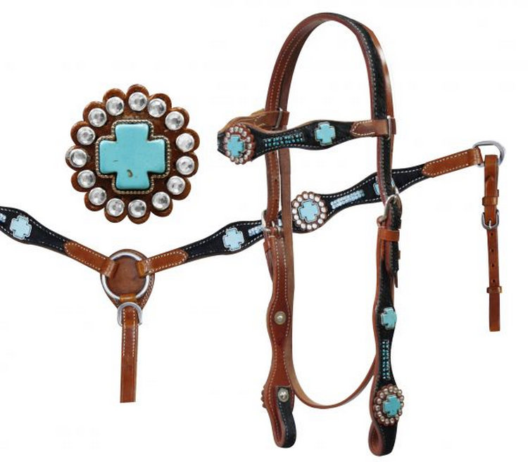 Hair on cowhide with turquoise stone crosses