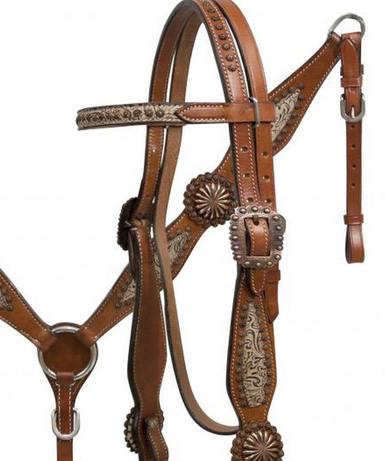 Filigree overlay headstall and breast collar set with copper accents-Filigree overlay headstall and breast collar set with copper accents
