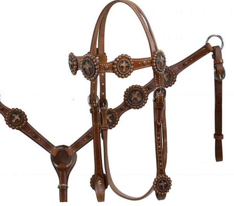 Double Stitched Leather Vintage Cross Concho Headstall and Breast Collar Set-Double Stitched Leather Vintage Cross Concho Headstall and Breast Collar Set. This headstall and breast collar set features double stitched leather accented with copper engraved cut out cross conchos and copper colored studs. Headstall comes with 5/8 x 7' leather split reins.