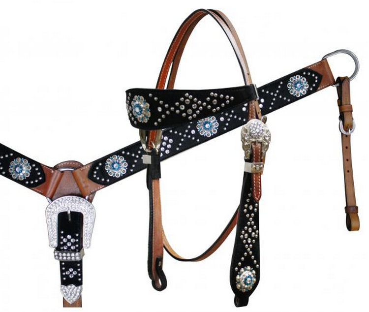 Hair On Cowhide Headstall and Breast Collar Set with Crystal Rhinestone Conchos-Hair On Cowhide Headstall and Breast Collar Set with Crystal Rhinestone Conchos