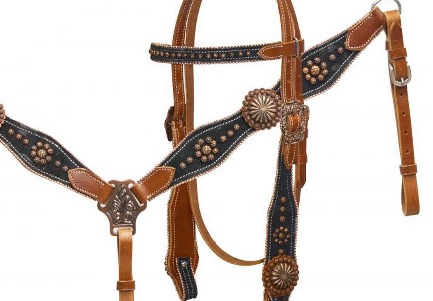 Black suede overlay headstall and breast collar set with copper conchos and studs-black suede overlay headstall and breast collar set with copper conchos and studs