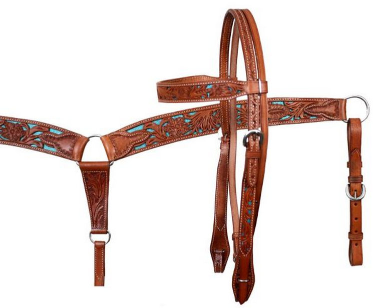 Double stitched leather filigree headstall and breastcollar set with glitter colored inlay-Double stitched leather filigree headstall and breastcollar set with glitter colored inlay