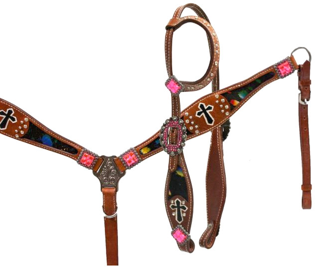 Metallic splash headstall and breast collar set with painted cross accents.