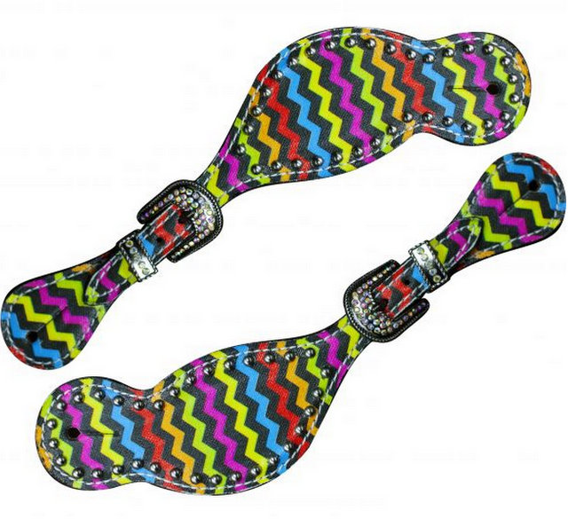 LADIES SIZE Rainbow chevron print spur straps.