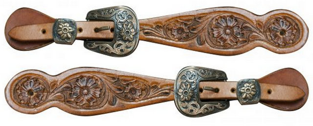 Ladies size floral tooled spur straps with engraved antique brass buckles.