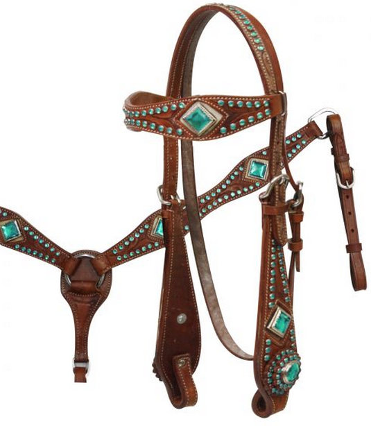 tooled leather browband headstall and breastcollar set with pink or turquoise rhinestones.