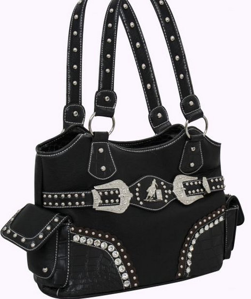 Western style bling handbag with crystal rhinestone buckles and barrel racer concho