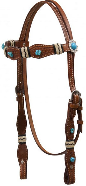 Turquoise Stone Beaded Headstall with Rawhide Accents.- Turquoise Stone Beaded Headstall with Rawhide Accents.