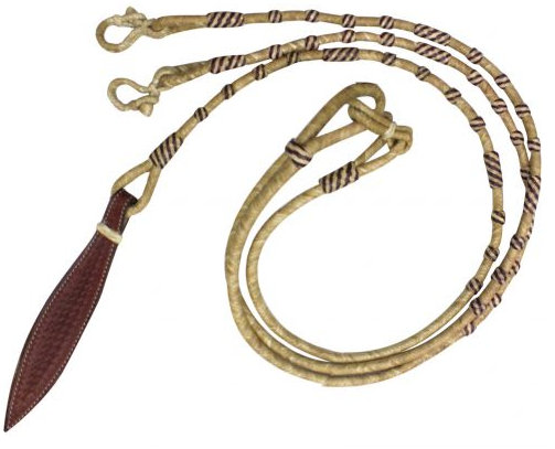 Braided Natural Rawhide Romal Reins with Leather Popper.- Braided Natural Rawhide Romal Reins with Leather Popper.