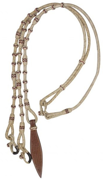 Braided Natural Rawhide Romal Reins with Leather Popper.-Braided Natural Rawhide Romal Reins with Leather Popper.