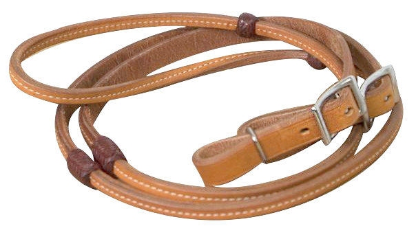 8ft Argentina cow leather reins with burgundy braided rawhide accents.