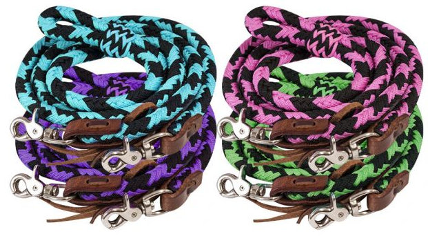 8ft braided nylon barrel reins with scissor snap ends.-8ft braided nylon barrel reins with scissor snap ends.