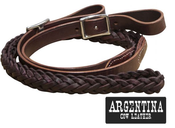 "7 ft Argentina cow leather contet reins. 1"" x 7ft."