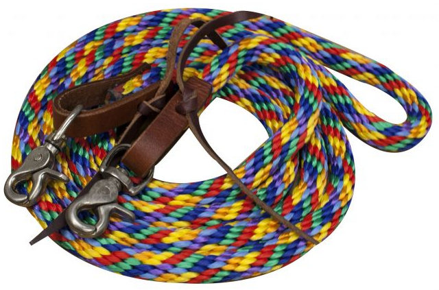 Multi colored round braided nylon barrel rein with scissor snap ends.