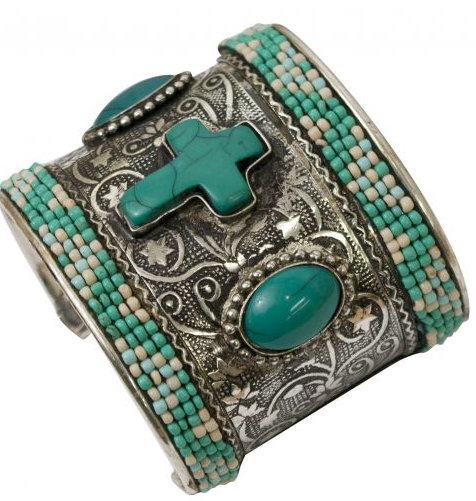 Engraved brushed silver cuff bracelet with turquoise stone cross.