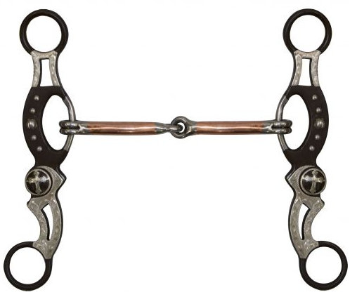 "5"" Brown Steel Engraved Snaffle Bit."