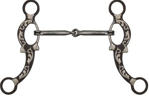 "5"" Brown Snaffle Bit with Engraved Silver Overlays."