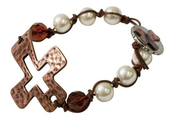 Copper cross bracelet with pearl beads.