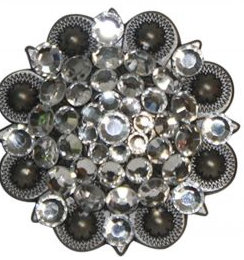 Silver Engraved Concho Accented with Crystal Rhinestones.-Silver Engraved Concho Accented with Crystal Rhinestones.