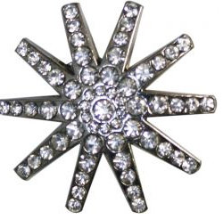 Silver Spur Rowel Concho Accented with Crystal Rhinestones.