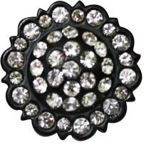 Antiqued black concho with clear crystal rhinestones.- Antiqued black concho with clear crystal rhinestones.