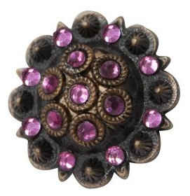 Antique copper colored rosette concho with pink rhinestones- Antique copper colored rosette concho with pink rhinestones