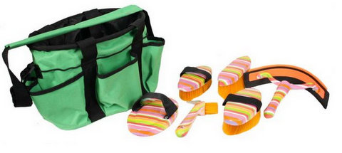Showman 6 piece rainbow strip grooming kit with nylon cordura carrying bag
