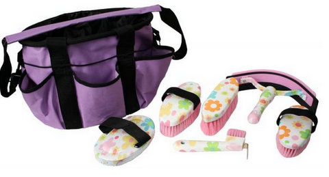 Showman� 6 piece flower design grooming kit with nylon cordura carrying bag