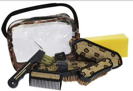 Bling Leopard 6 pcs Grooming Kit with Carrying Case.- Bling Leopard 6 pcs Grooming Kit with Carrying Case.