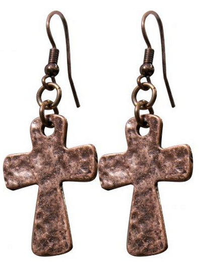 "1"" copper plate cross charm earrings.."