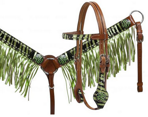 Pony size metallic lime zebra print hair on cowhide fringe headstall and breast collar set.- Pony size metallic lime zebra print hair on cowhide fringe headstall and breast collar set.